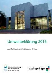 Umwelterklärung 2013 - Axel Springer