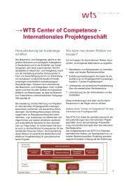 WTS Center of Competence - Internationales Projektgeschäft
