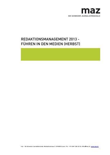 Redaktionsmanagement 2013 Herbst - MAZ