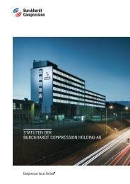STATUTEN DER BURCKHARDT COMPRESSION HOLDING AG