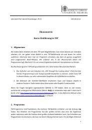 Ökonometrie Kurze Einführung in TSP