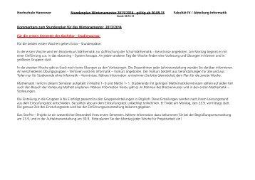 Stundenplan Wintersemester 2013/14 - gültig ab 30.09 ... - Fakultät IV