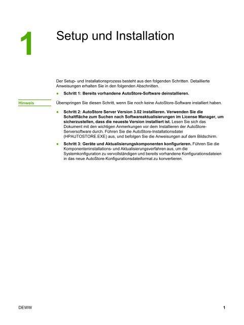 HP AutoStore Server Software Install Guide - DEWW - Hewlett Packard
