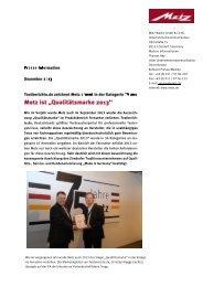 Qualitätsmarke 2013 - Metz
