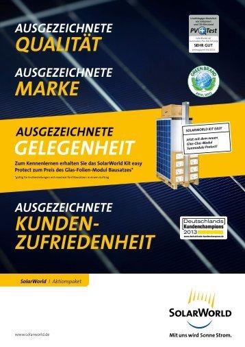 gelegenheit QuAlität Kunden- zufriedenheit MArKe - SolarWorld AG