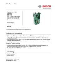 Zentrale Produktmerkmale Weitere Produktvorteile ... - Bosch
