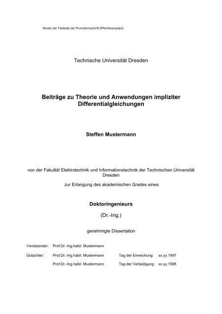 Muster der Titelseite der Promotionsschrift - Fakultät Elektrotechnik ...