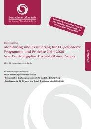 Monitoring und Evaluierung für EU-geförderte Programme und ...