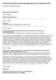 Programm des TR-Innovationskongresses am 5./6. November 2013