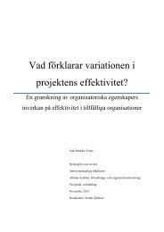 Vad förklarar variationen i projektens effektivitet? - Helda