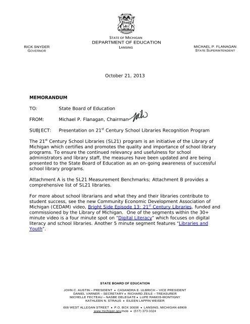 Presentation on 21 - State of Michigan