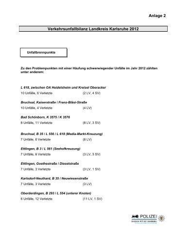 Anlage 2 Verkehrsunfallbilanz Landkreis Karlsruhe ... - Durlacher.de