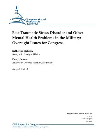 Post-Traumatic Stress Disorder and Other Mental Health Problems ...