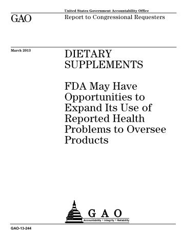 Dietary supplements: FDA may have opportunities to expand its use