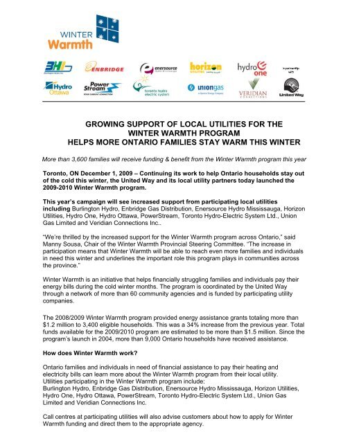 6db7c94c1a7c8 growing support of local utilities for the winter warmth ... - Hydro One