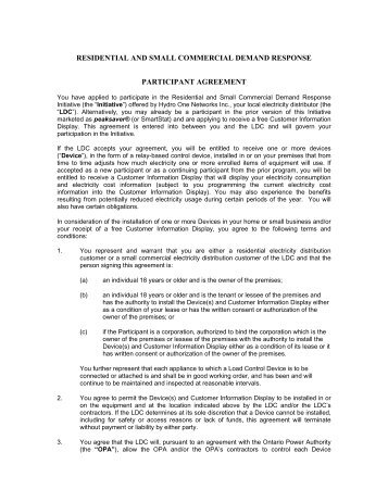 PARTICIPANT AGREEMENT.doc - Hydro One