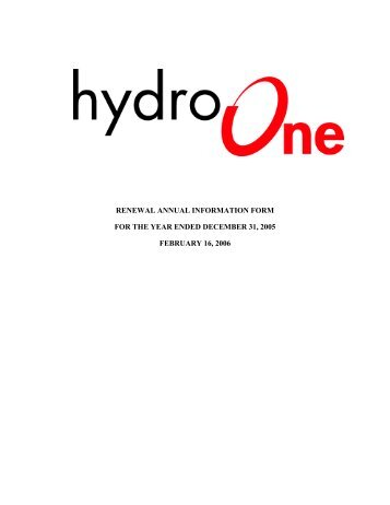 Microsoft Word - Hydro One_ AIF_ version 9.DOC