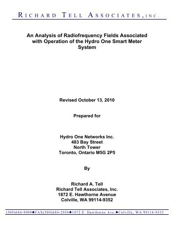 An Analysis of Radiofrequency Fields Associated with ... - Hydro One
