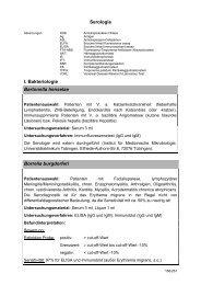 Serologie I. Bakteriologie Bartonella henselae Borrelia burgdorferi