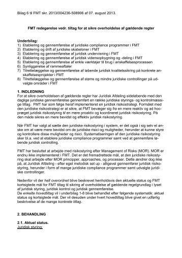 Bilag 6 - FMT redegørelse vedr. tiltag for at sikre overholdelse af ...