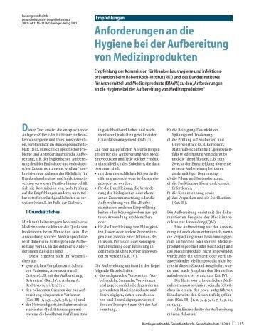 Anforderungen an die Hygiene bei der Aufbereitung von ... - Springer