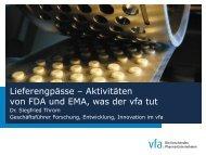 Lieferengpässe – Aktivitäten von FDA und EMA, was der vfa tut
