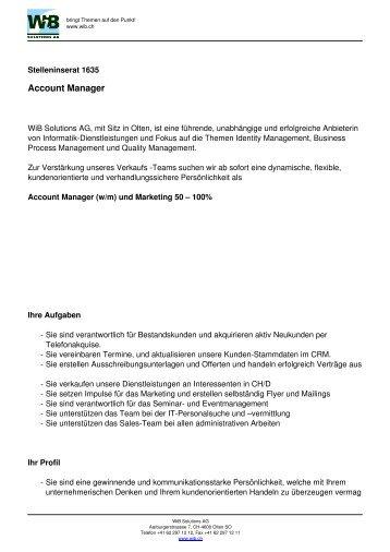 Stelleninserat 1635 - WIB Solutions AG