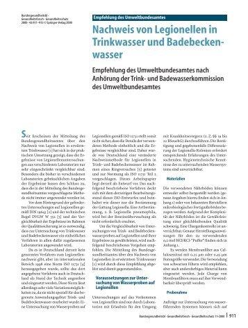 Nachweis von Legionellen in Trinkwasser und Badebecken - Springer