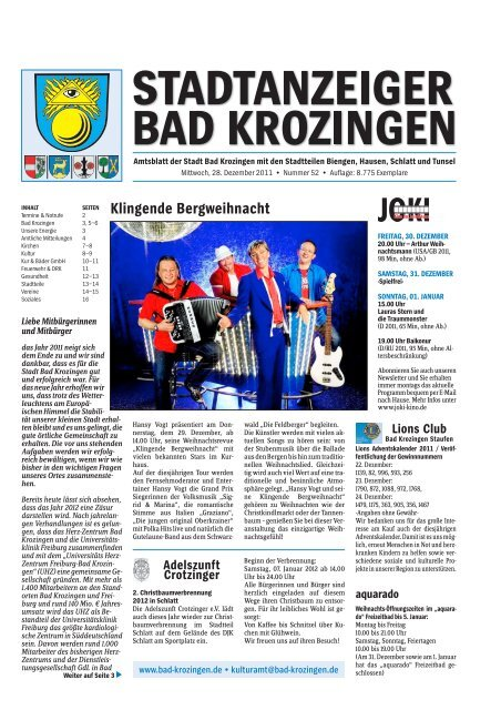 Klingende Bergweihnacht Lions Club Gemeinde Bad Krozingen
