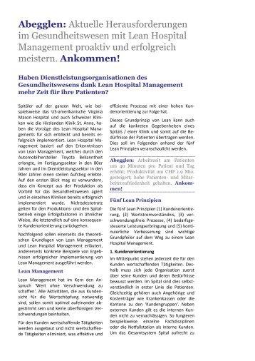 Artikel Lean Healthcare Management - Abegglen Management ...