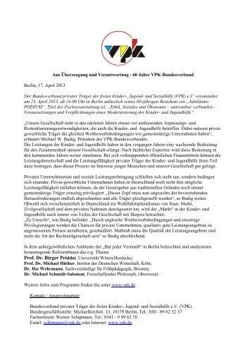 60 Jahre VPK-Bundesverband Berlin, 17. April 2013 Der ...