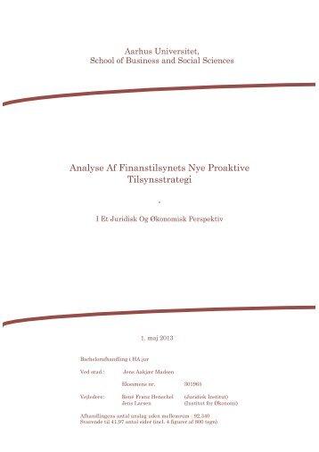 Analyse Af Finanstilsynets Nye Proaktive Tilsynsstrategi - - PURE