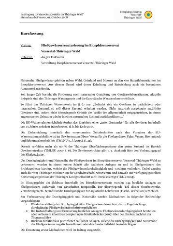 Fließgewässerrenaturierung im Biosphärenreservat ...