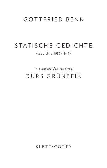 gottfried benn statische gedichte durs grünbein - Klett-Cotta