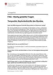 FAQ - Häufig gestellte Fragen Temporäre Asylunterkünfte ... - EJPD