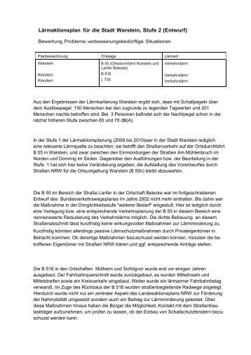Lärmaktionsplan für die Stadt Warstein, Stufe 2 (Entwurf)