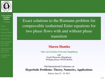 Exact solutions to the Riemann problem for ... - HYP2012