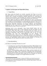 Vergleich von Konzepten der Regionalforschung 1. Fragestellung 2 ...