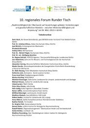 10. regionales Forum Runder Tisch - Hypertransformation