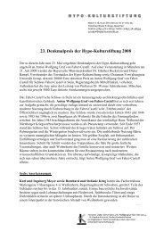 23. Denkmalpreis der Hypo-Kulturstiftung 2008 - Kunsthalle der ...