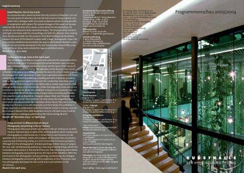 Programmvorschau 2003 2004 - Kunsthalle der Hypo-Kulturstiftung