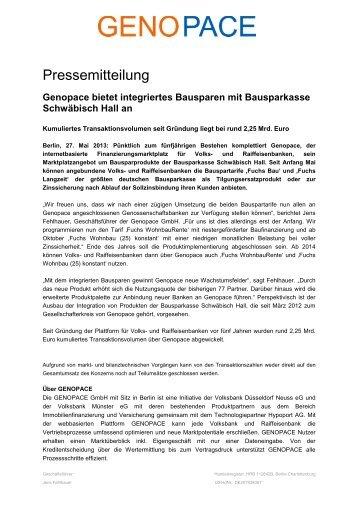 Genopace bietet integriertes Bausparen mit ... - Hypoport AG