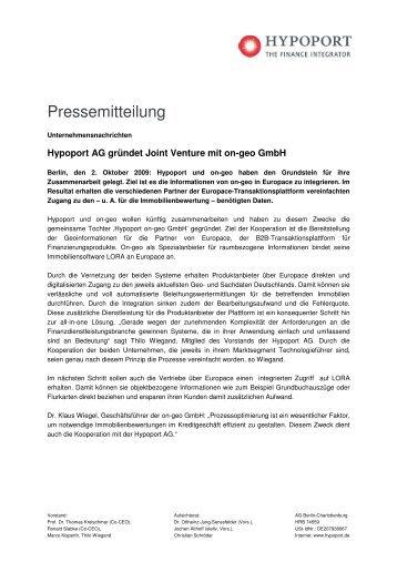 Hypoport AG gründet Joint Venture mit on-geo GmbH
