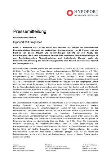 Hypoport hält Prognosen - Hypoport AG