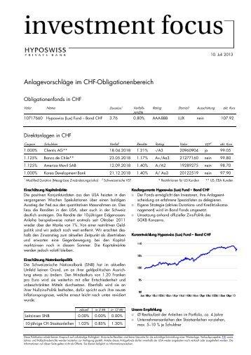 10. Juli 2013 - Investment Focus CHF Übertriebener Zinsanstieg