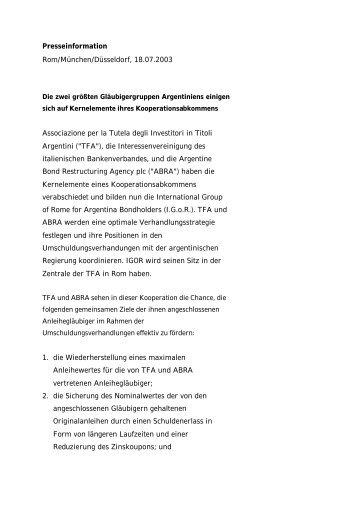 Presseinformation Rom/München/Düsseldorf ... - HypoVereinsbank