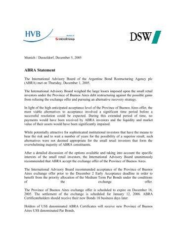 ABRA Statement - HypoVereinsbank