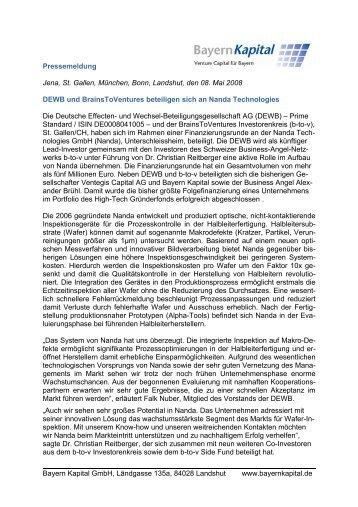 openpr) - S-Refit AG beteiligt sich als Lead ... - Bayern Kapital