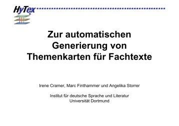Zur automatischen Generierung von Themenkarten für Fachtexte