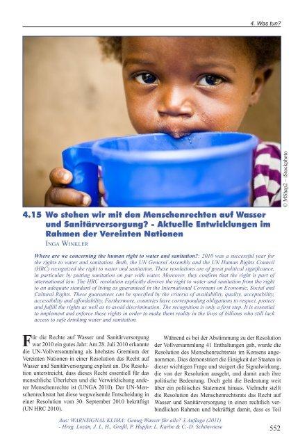 4.15 Wo stehen wir mit den Menschenrechten auf Wasser und ...